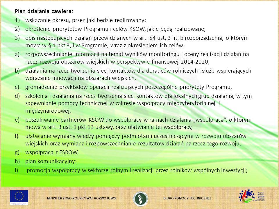Plan działania zawiera: 1) wskazanie okresu, przez jaki będzie realizowany; 2) określenie priorytetów Programu i celów KSOW, jakie będą realizowane; 3) opis następujących działań przewidzianych w art.