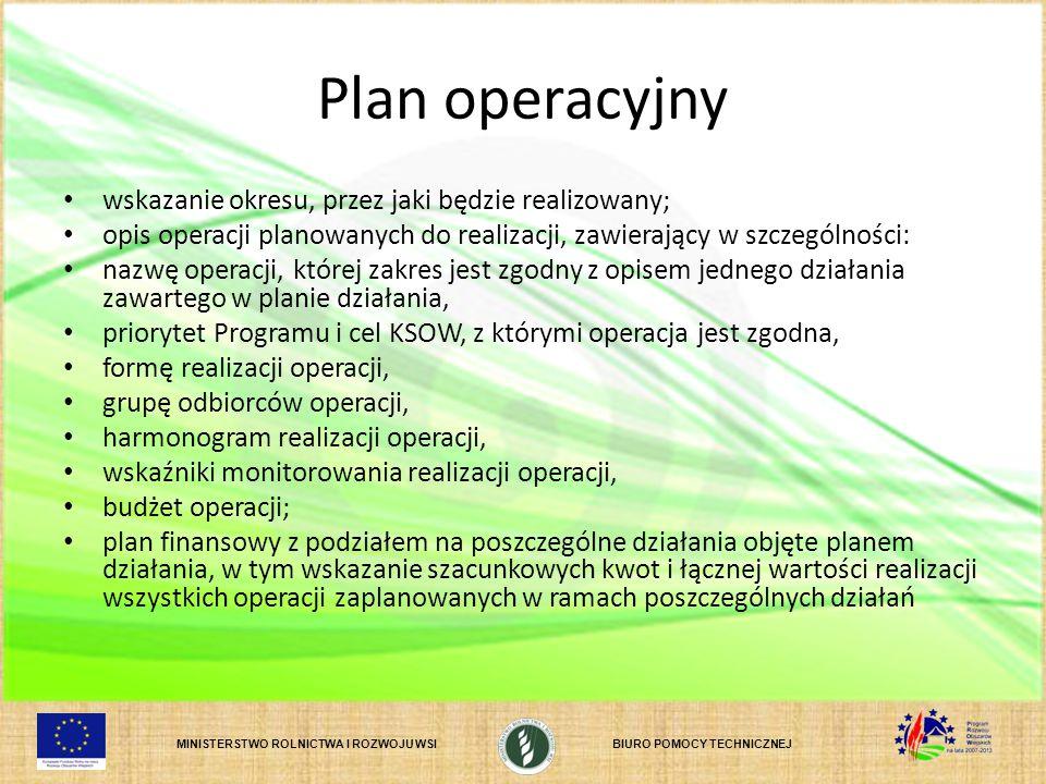Plan operacyjny wskazanie okresu, przez jaki będzie realizowany;