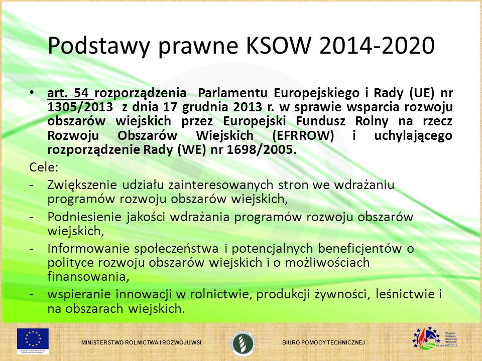 Podstawy prawne KSOW 2014-2020