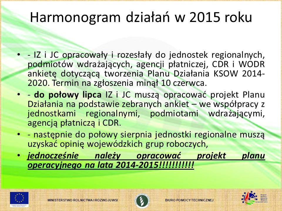 Harmonogram działań w 2015 roku