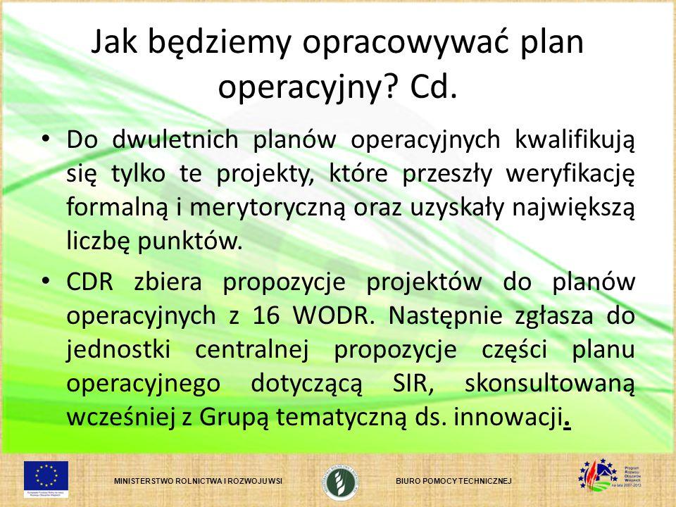 Jak będziemy opracowywać plan operacyjny Cd.