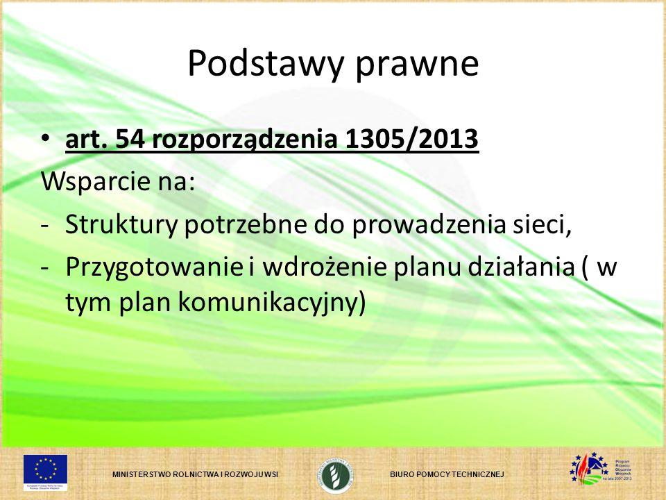 Podstawy prawne art. 54 rozporządzenia 1305/2013 Wsparcie na: