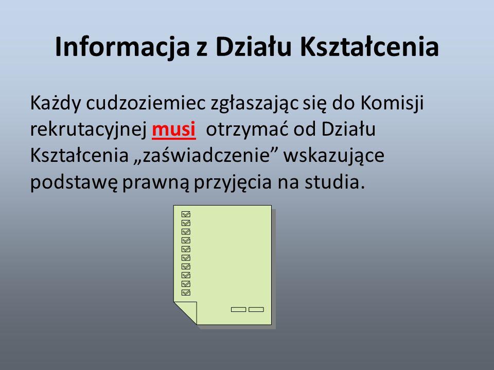 Informacja z Działu Kształcenia