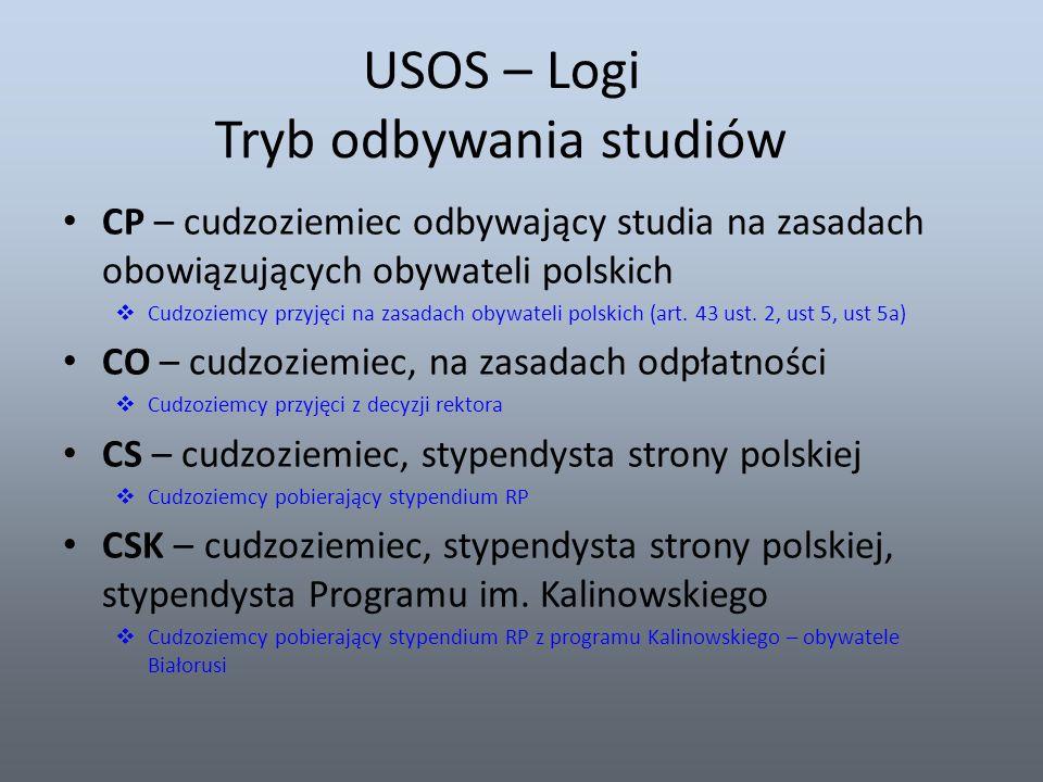 USOS – Logi Tryb odbywania studiów