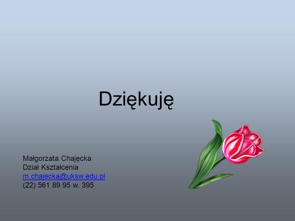 Dziękuję Małgorzata Chajęcka Dział Kształcenia m.chajecka@uksw.edu.pl