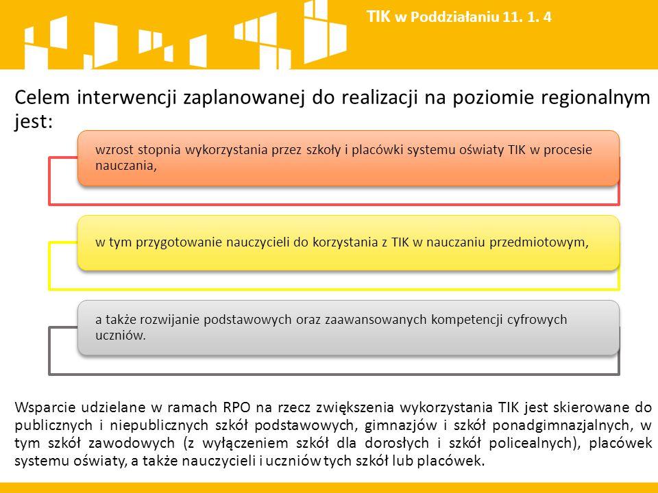 TIK w Poddziałaniu 11. 1. 4 Celem interwencji zaplanowanej do realizacji na poziomie regionalnym jest: