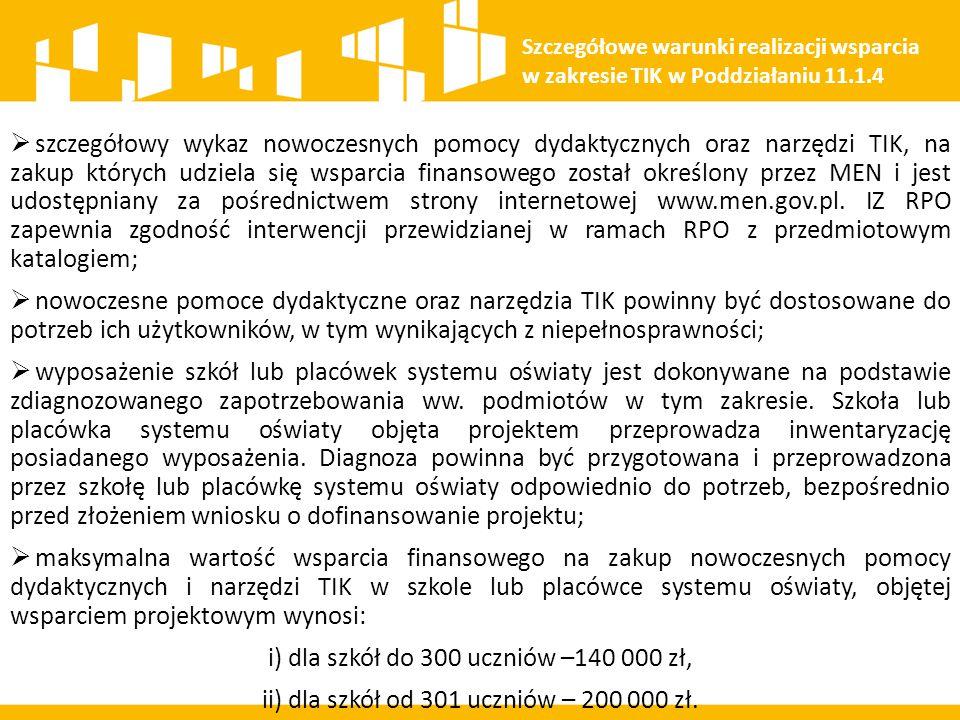 i) dla szkół do 300 uczniów –140 000 zł,