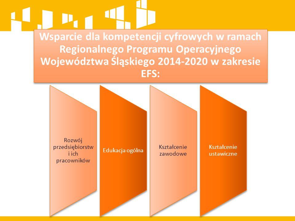 Wsparcie dla kompetencji cyfrowych w ramach Regionalnego Programu Operacyjnego Województwa Śląskiego 2014-2020 w zakresie EFS:
