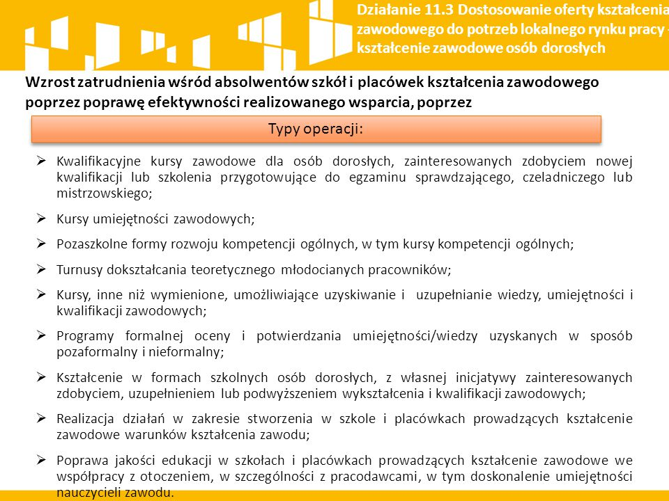 Działanie 11.3 Dostosowanie oferty kształcenia zawodowego do potrzeb lokalnego rynku pracy – kształcenie zawodowe osób dorosłych