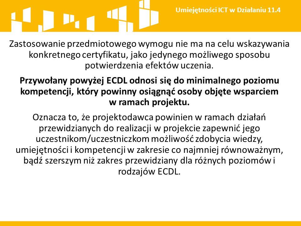 Umiejętności ICT w Działaniu 11.4