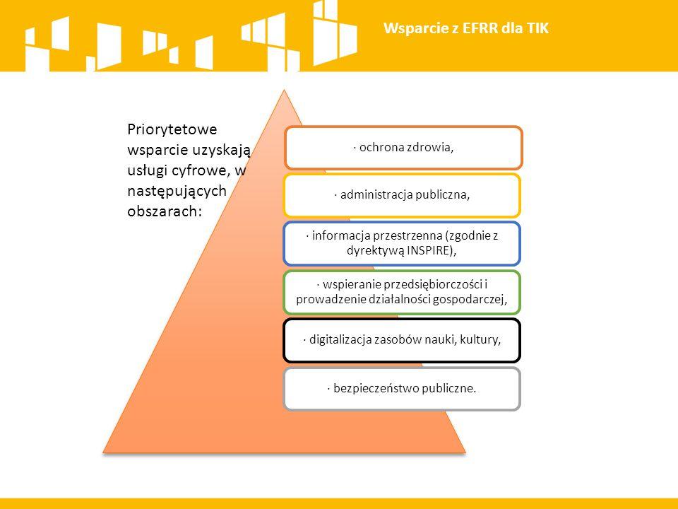 Wsparcie z EFRR dla TIK · ochrona zdrowia, · administracja publiczna, · informacja przestrzenna (zgodnie z dyrektywą INSPIRE),