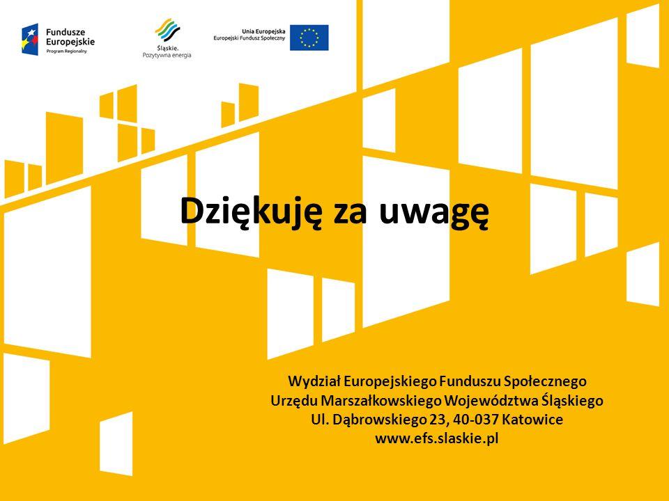 Dziękuję za uwagę Wydział Europejskiego Funduszu Społecznego