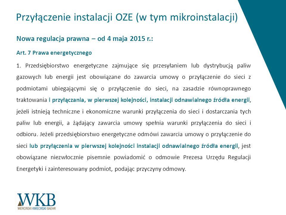 Przyłączenie instalacji OZE (w tym mikroinstalacji)