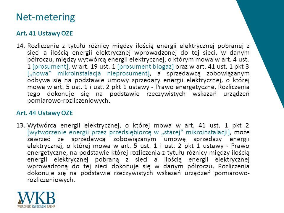 Net-metering Art. 41 Ustawy OZE