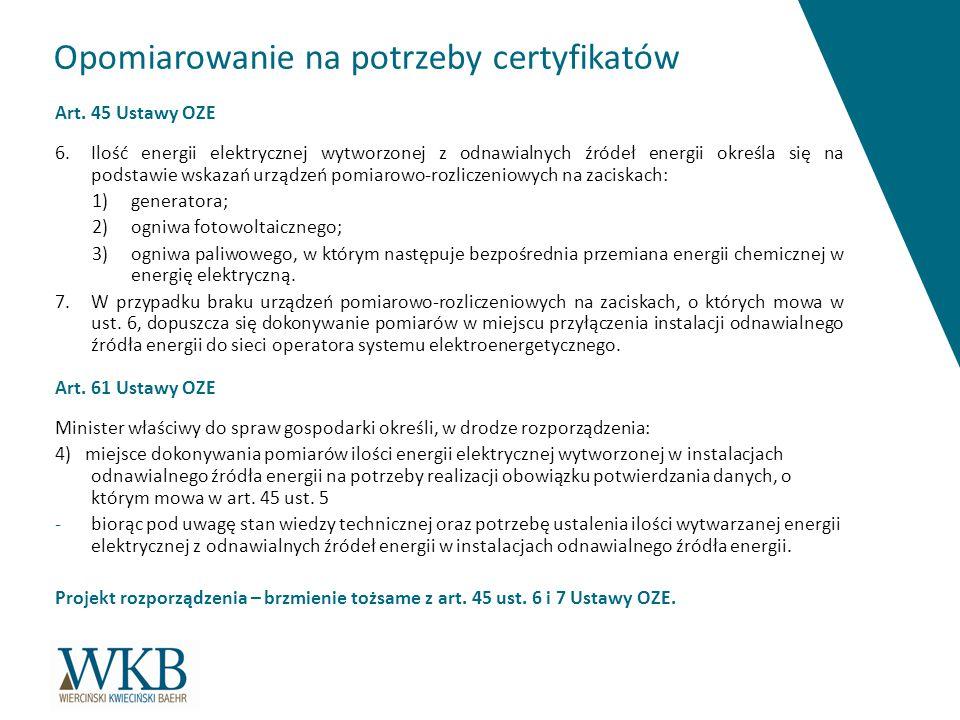 Opomiarowanie na potrzeby certyfikatów