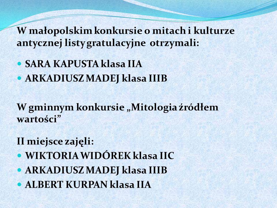 W małopolskim konkursie o mitach i kulturze antycznej listy gratulacyjne otrzymali: