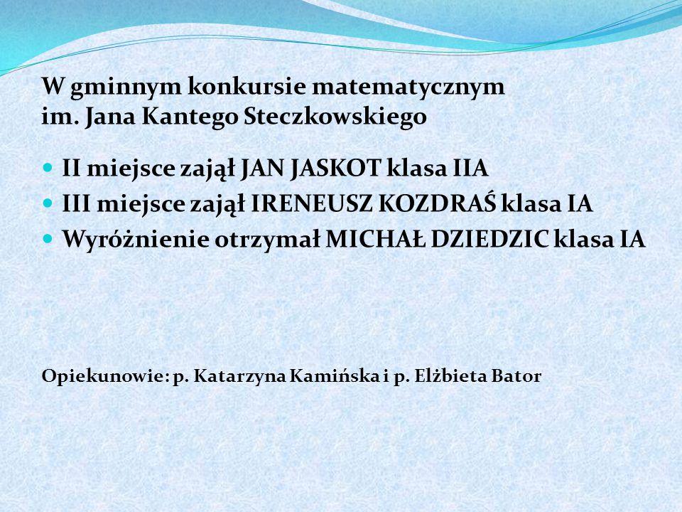 W gminnym konkursie matematycznym im. Jana Kantego Steczkowskiego