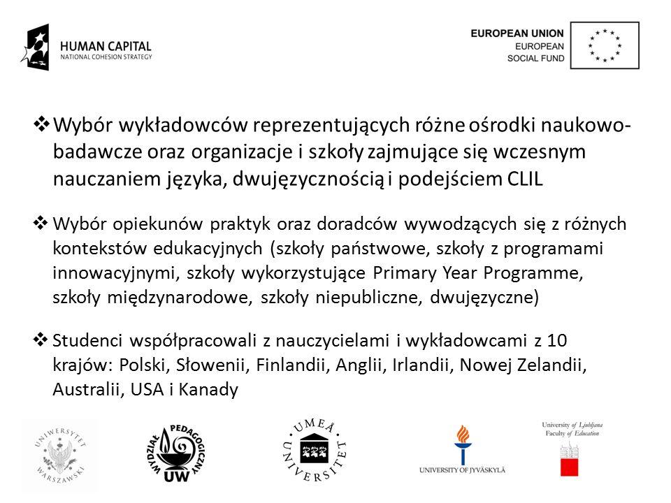 Wybór wykładowców reprezentujących różne ośrodki naukowo-badawcze oraz organizacje i szkoły zajmujące się wczesnym nauczaniem języka, dwujęzycznością i podejściem CLIL