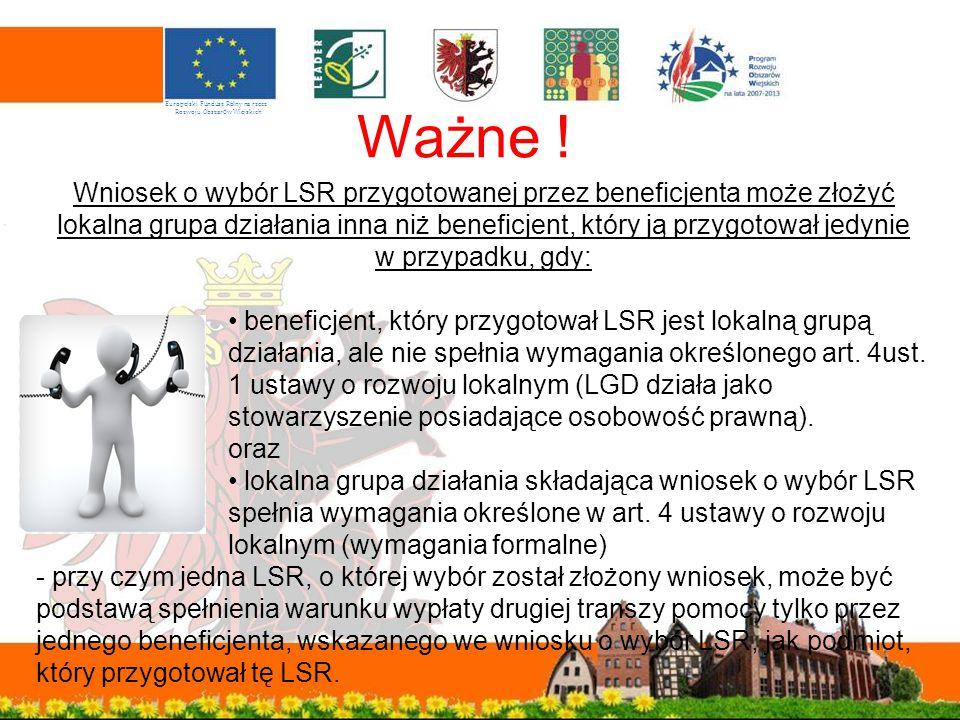 Ważne ! Europejski Fundusz Rolny na rzecz. Rozwoju Obszarów Wiejskich.