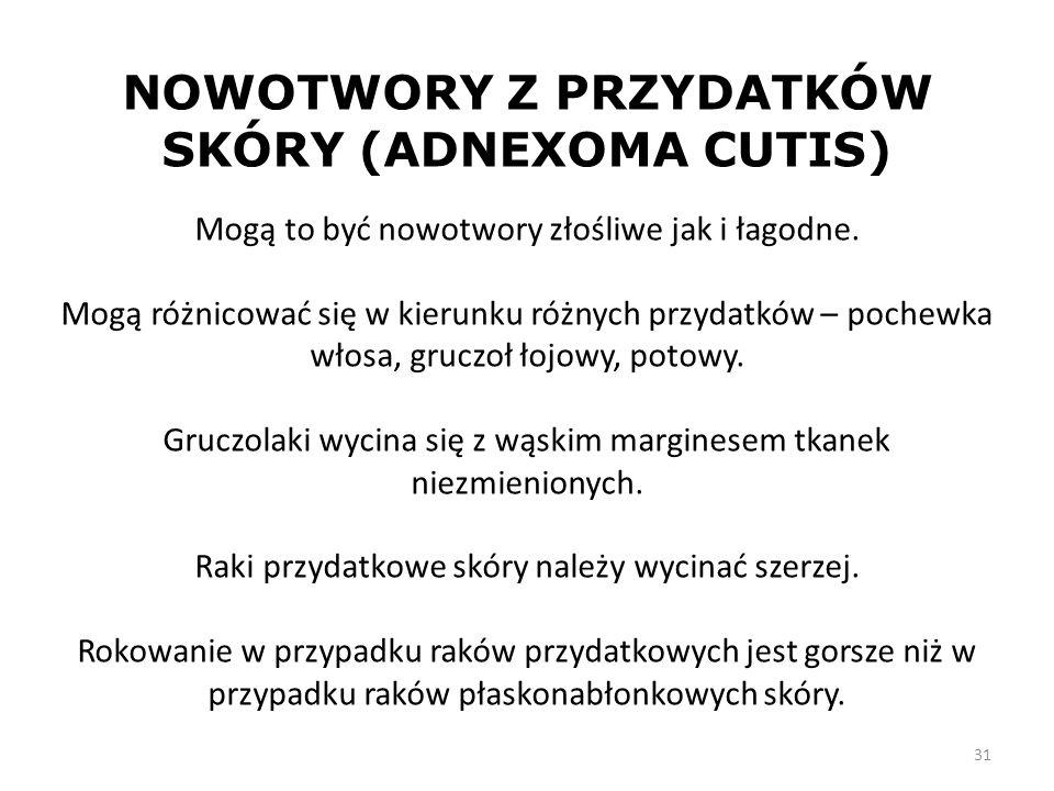NOWOTWORY Z PRZYDATKÓW SKÓRY (ADNEXOMA CUTIS)