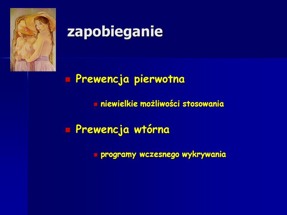 zapobieganie Prewencja pierwotna Prewencja wtórna