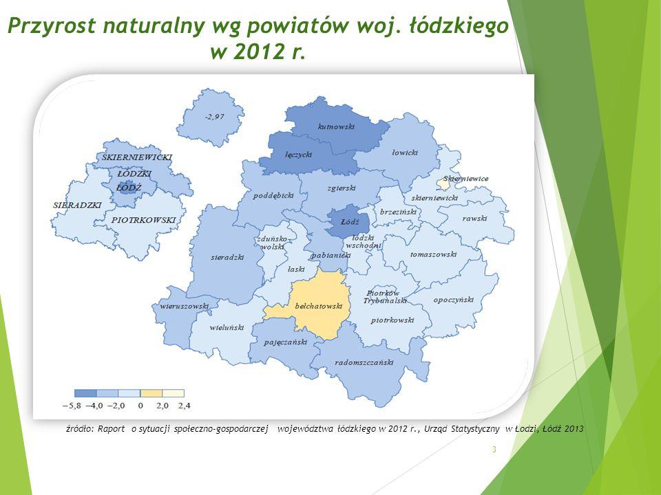 Przyrost naturalny wg powiatów woj. łódzkiego w 2012 r.