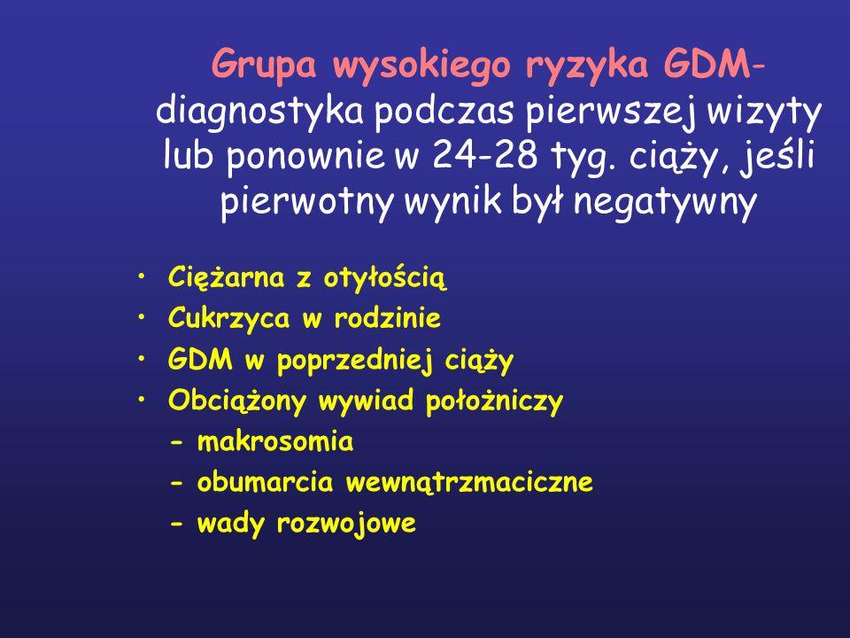 Grupa wysokiego ryzyka GDM- diagnostyka podczas pierwszej wizyty lub ponownie w 24-28 tyg. ciąży, jeśli pierwotny wynik był negatywny