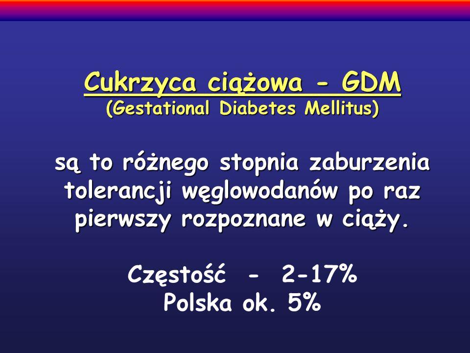 Cukrzyca ciążowa - GDM (Gestational Diabetes Mellitus) są to różnego stopnia zaburzenia tolerancji węglowodanów po raz pierwszy rozpoznane w ciąży.