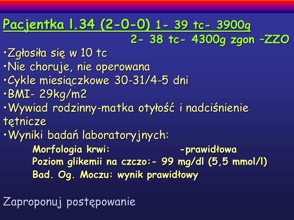 Pacjentka l.34 (2-0-0) 1- 39 tc- 3900g 2- 38 tc- 4300g zgon –ZZO