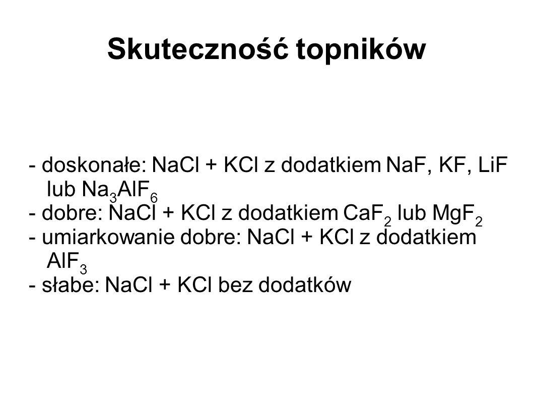 Skuteczność topników - doskonałe: NaCl + KCl z dodatkiem NaF, KF, LiF lub Na3AlF6. - dobre: NaCl + KCl z dodatkiem CaF2 lub MgF2.