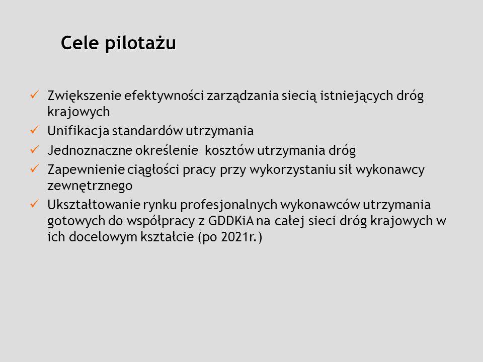 Cele pilotażu Zwiększenie efektywności zarządzania siecią istniejących dróg krajowych. Unifikacja standardów utrzymania.