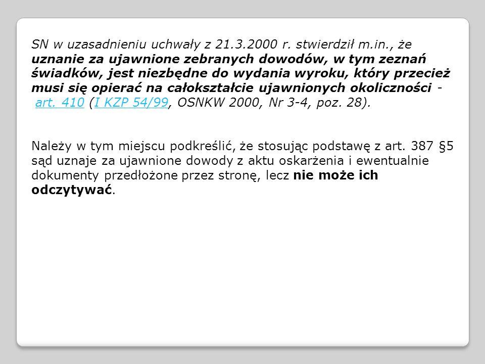 SN w uzasadnieniu uchwały z 21. 3. 2000 r. stwierdził m. in