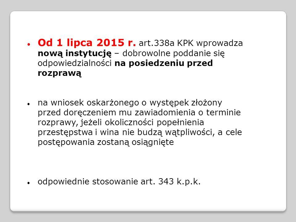 Od 1 lipca 2015 r. art.338a KPK wprowadza nową instytucję – dobrowolne poddanie się odpowiedzialności na posiedzeniu przed rozprawą