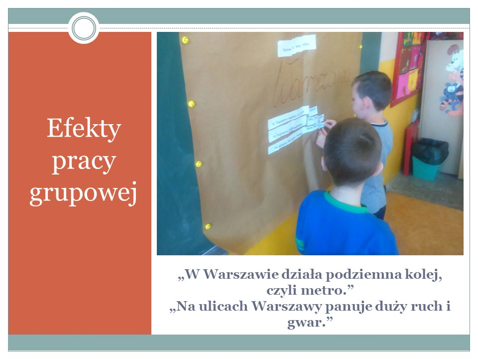 """Efekty pracy grupowej """"W Warszawie działa podziemna kolej, czyli metro. """"Na ulicach Warszawy panuje duży ruch i gwar."""