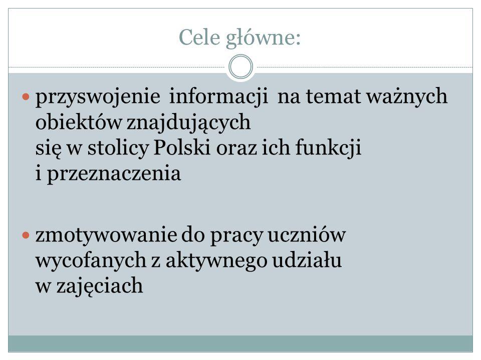 Cele główne: przyswojenie informacji na temat ważnych obiektów znajdujących się w stolicy Polski oraz ich funkcji i przeznaczenia.