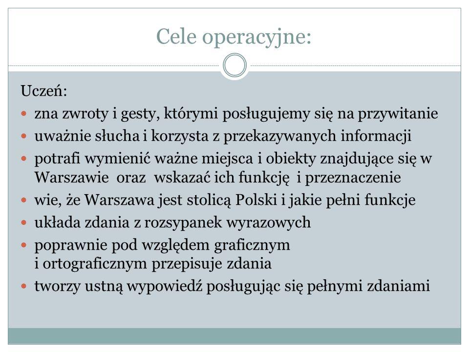 Cele operacyjne: Uczeń: