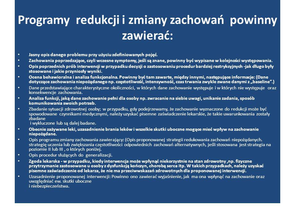 Programy redukcji i zmiany zachowań powinny zawierać: