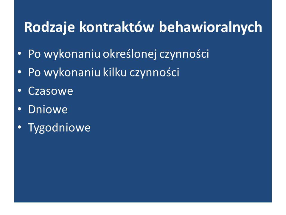 Rodzaje kontraktów behawioralnych