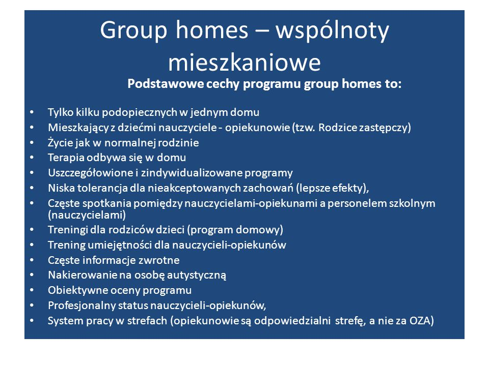 Group homes – wspólnoty mieszkaniowe