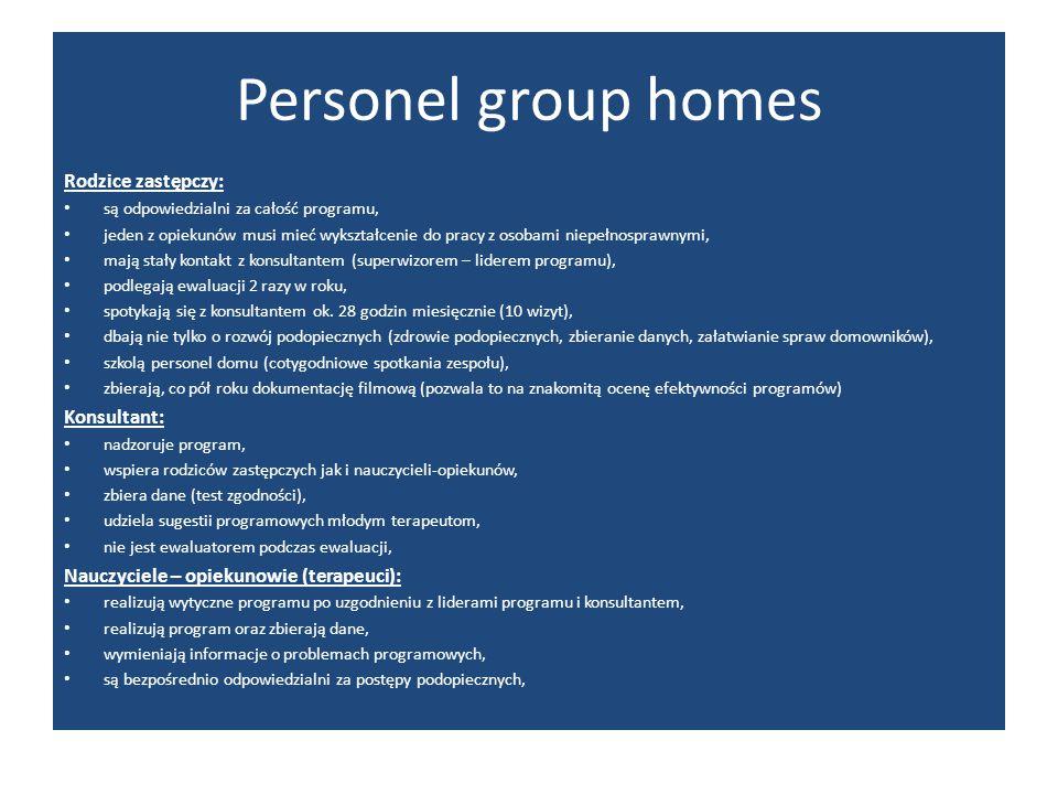 Personel group homes Rodzice zastępczy: Konsultant: