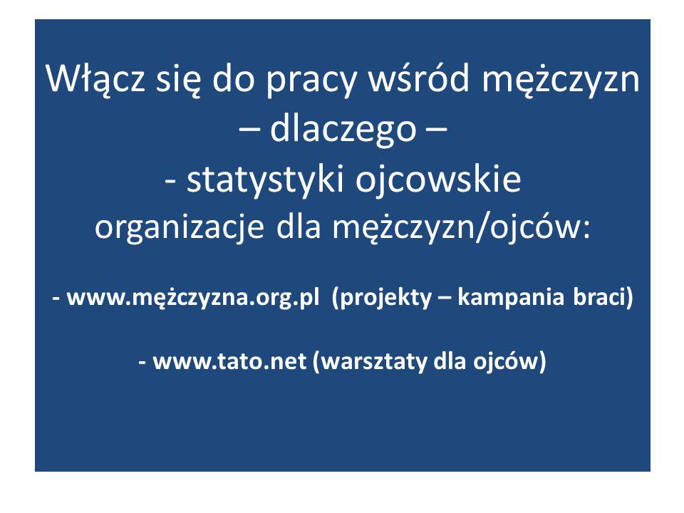 Włącz się do pracy wśród mężczyzn – dlaczego – - statystyki ojcowskie organizacje dla mężczyzn/ojców: - www.mężczyzna.org.pl (projekty – kampania braci) - www.tato.net (warsztaty dla ojców)