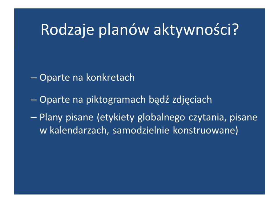 Rodzaje planów aktywności