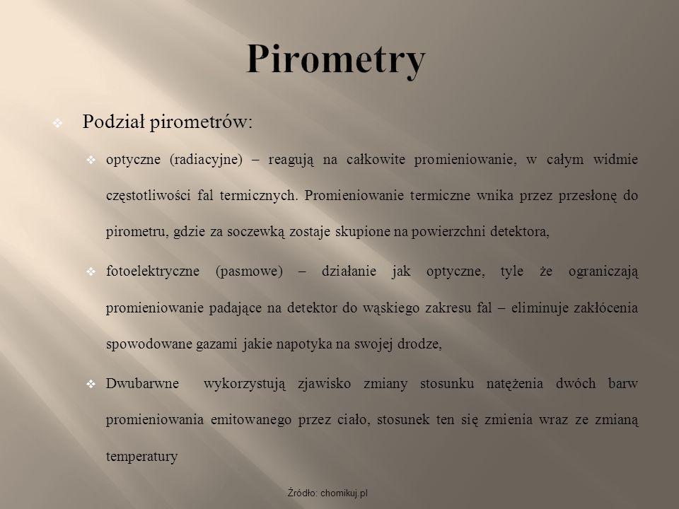 Pirometry Podział pirometrów: