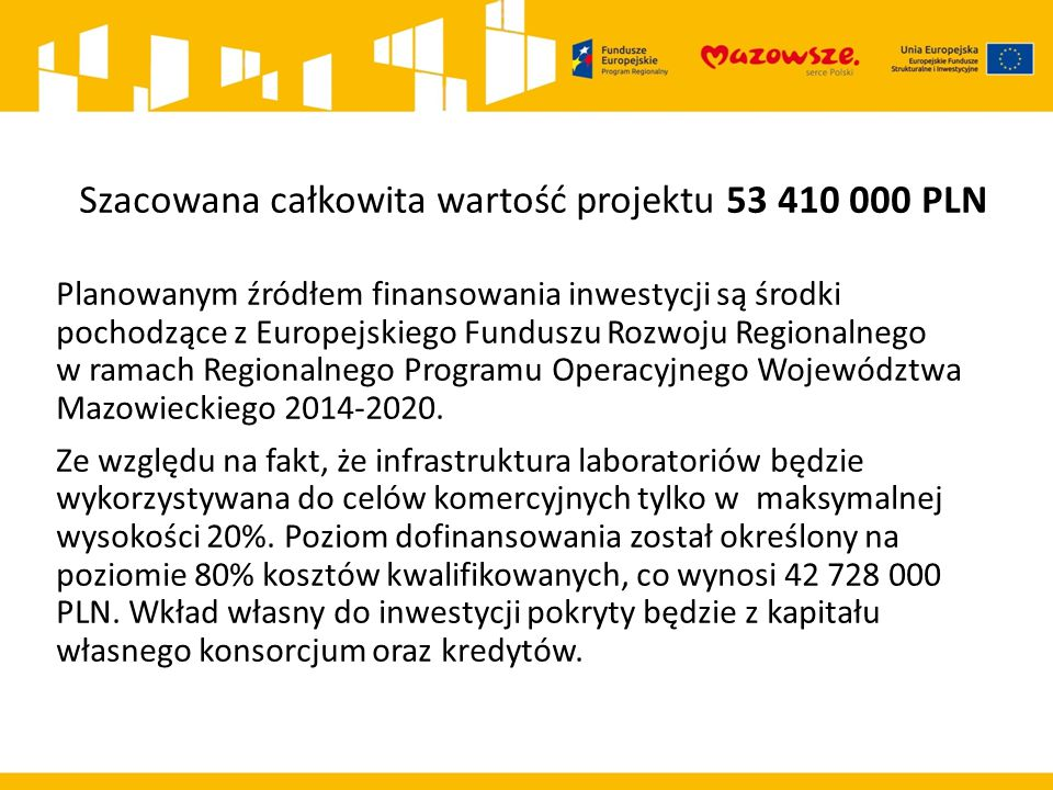 Szacowana całkowita wartość projektu 53 410 000 PLN