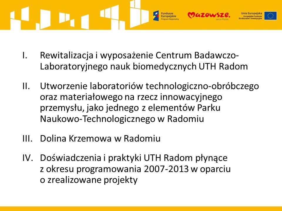 Rewitalizacja i wyposażenie Centrum Badawczo- Laboratoryjnego nauk biomedycznych UTH Radom