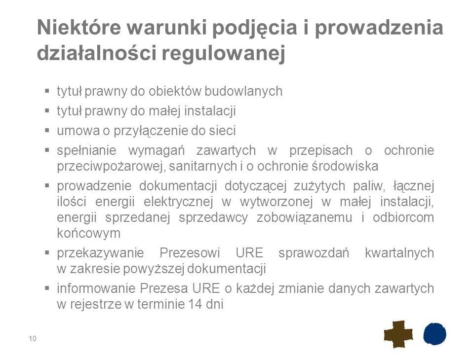 Niektóre warunki podjęcia i prowadzenia działalności regulowanej
