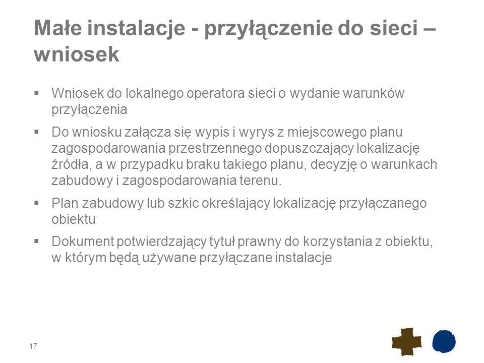 Małe instalacje - przyłączenie do sieci – wniosek