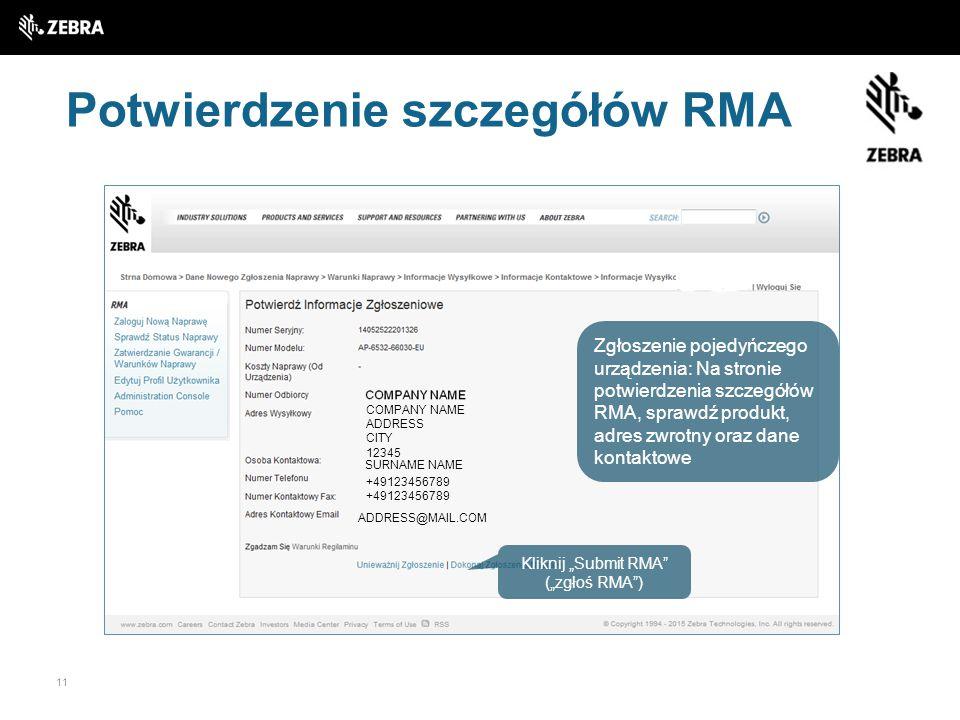 Potwierdzenie szczegółów RMA