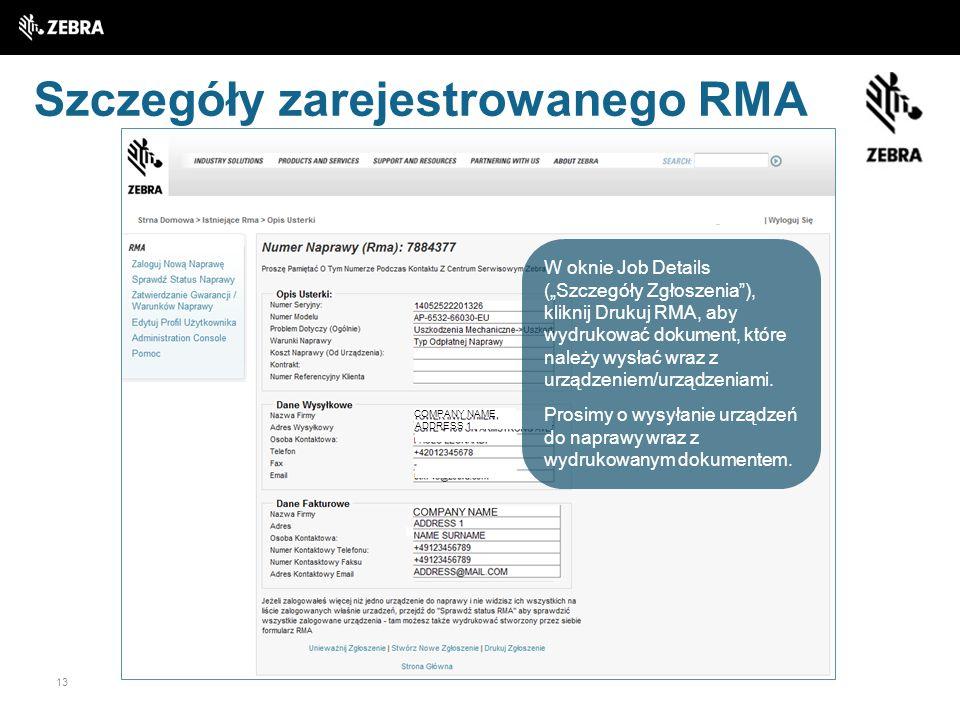 Szczegóły zarejestrowanego RMA