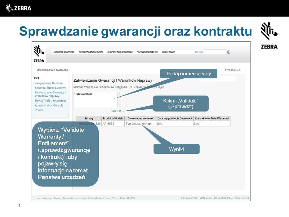 Sprawdzanie gwarancji oraz kontraktu